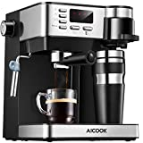 Coffee and Espresso Machine AICOOK Espresso and Coffee Machine, 3 in 1 Combination 15 Bar Espresso Machine and Single Serve Coffee Maker With Coffee Mug, Milk Frother for Cappuccino and Latte, Black