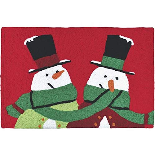 Jellybean Snowman Buddies on Red Holiday Accent Rug ()