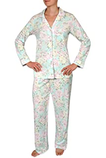 Miss Elaine Women s Two-Piece Pajama Set - Long Sleeve Button Top and  Elastic Waist 0fb33de53