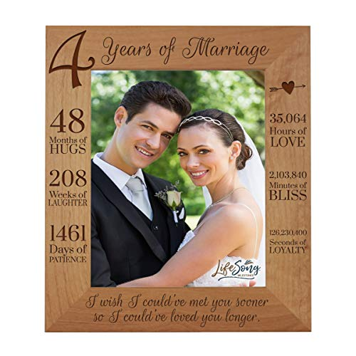 LifeSong Milestones 4th Anniversary Picture Frame 4 Year of Marriage - Four Year Wedding Keepsake Gift for Parents Husband Wife him her Holds 8x10 Photo - I Wish I Could of met You Sooner (11.5x13.5)