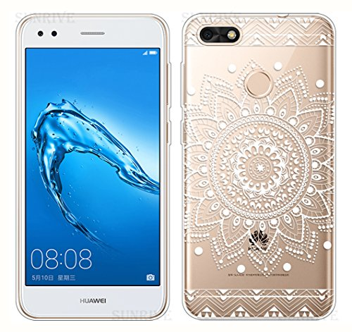 Funda Para Huawei Y6 Pro 2017 / P9 Lite Mini, Sunrive Silicona Funda Slim Fit Gel Transparente Carcasa Case Bumper de Impactos y Anti-Arañazos Espalda Cover(tpu Panda 1) + 1 x Lápiz óptico tpu Flor blanco