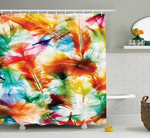 Ambesonne Feather House Decor Shower Curtain, Psychedelic Blurry