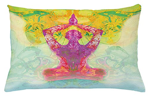 Ambesonne Mystic Throw Pillow Cushion Cover, Men in Meditation Yoga Lotus Position Hands Over The Body Inner Peace Motley Image, Decorative Accent Pillow Case, 26 W X 16 L inches, Multicolor by Ambesonne