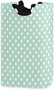 SLHFPX Laundry Basket Mint Green Dots Large Collapsible Dirty Laundry Hamper Bag Tall Fabric Storage Baskets Rectangle Folding Washing Bin Hand Clothes Organizer for Kids,Dorm 53L