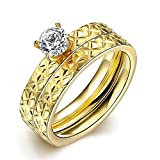 SocialFloats New Classic Titanium Steel Crystal Couple Ring