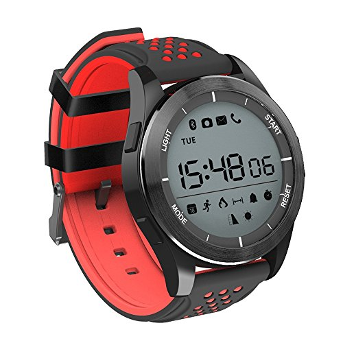Digital Mens Smart Watch, Bluetooth 4.0 Fitness Tracker Watch with IP68 Waterproof/Pedometer/Sleep Monitor/SMS Notification for Android and IOS(Red and Black)