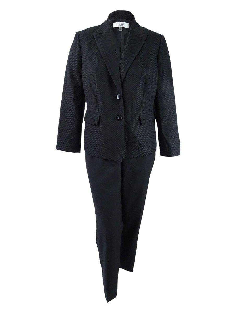 Le Suit Women's Plus Size Two-Button Pique Pantsuit (16W, Black)