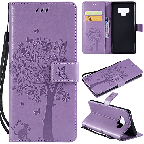 Galaxy Note 9 Case,Samsung Note 9 Wallet Case,Galaxy Note 9 Flip Case PU Leather Emboss Tree Cat Flowers Folio Magnetic Kickstand Cover with Card Slots for Samsung Galaxy Note 9 Light Purple