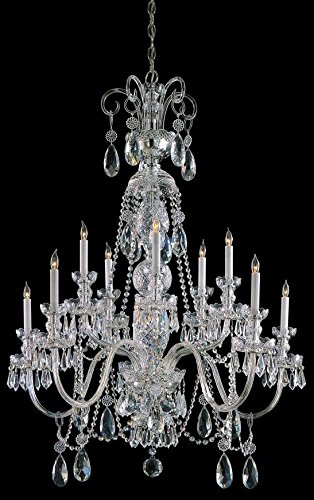 5020-CH-CL-SAQ Traditional 10LT Chandelier, Polished Chrome Finish with Clear Swarovski Spectra Crystal