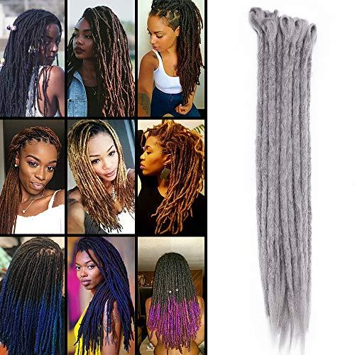 """TESS 20"""" Crochet Braids Extensions Grau Kunsthaar Braiding Hair Synthetik Haar 10 Bündel 70g/Packung 50cm Dreadlock Haarteil Haarverlängerung"""