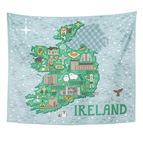Emvency Decor Wall Tapestry Landscape Map of Ireland Travel Irish Castles People Symbols Traditional Food and Drinks Country Wall Hanging Picnic for Bedroom Living Room Dorm 80x60 Inches ()