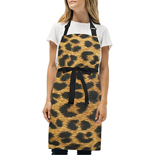 Naanle Close Up Leopard Spot Print Kitchen Chef Cooking Salon Aprons for Women Men Vintage Pinafore Apron Dress