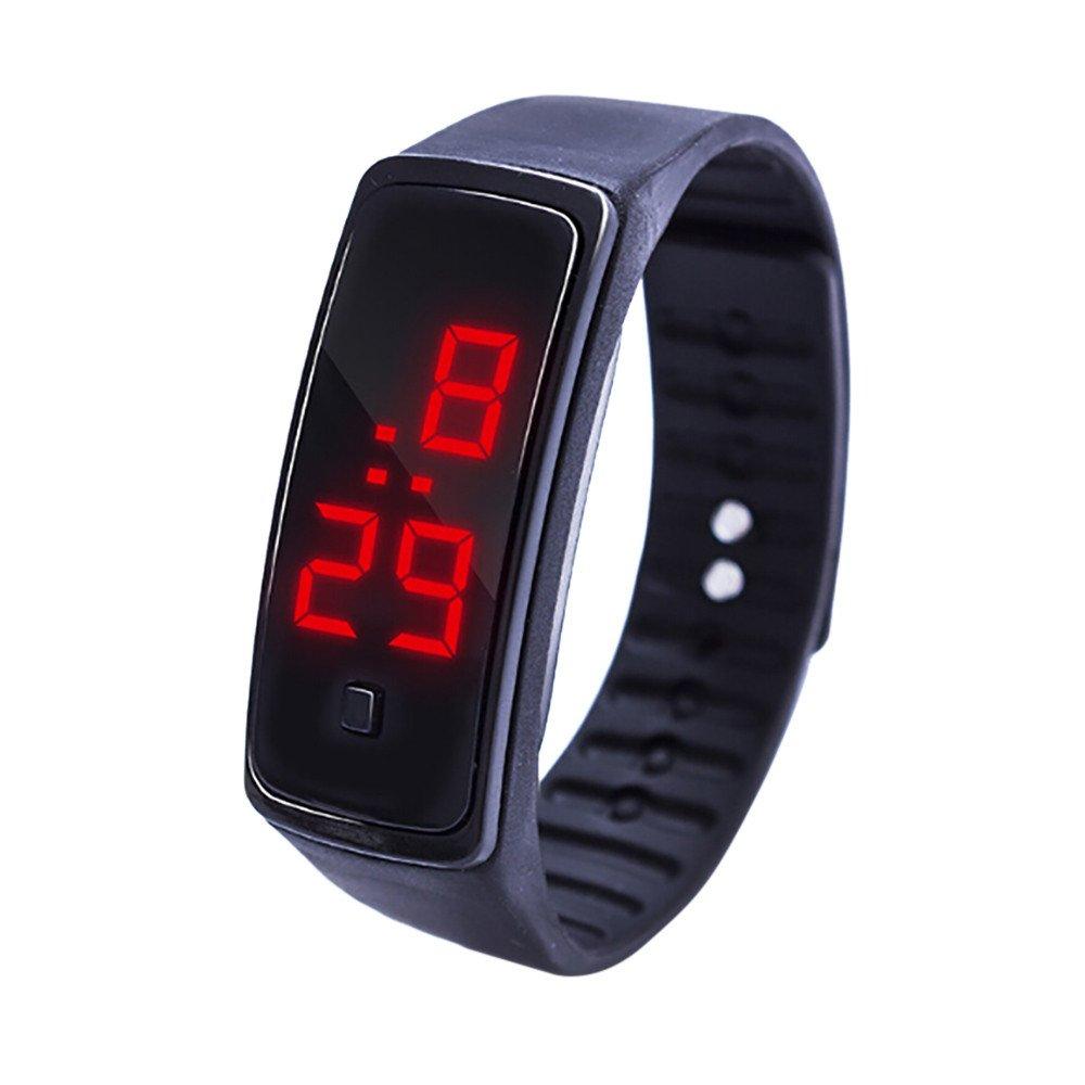 NRUTUP LED Digital Display Bracelet Watch Children's Students Silica Gel Sports Watch Hot Sales(Black,Free Size)
