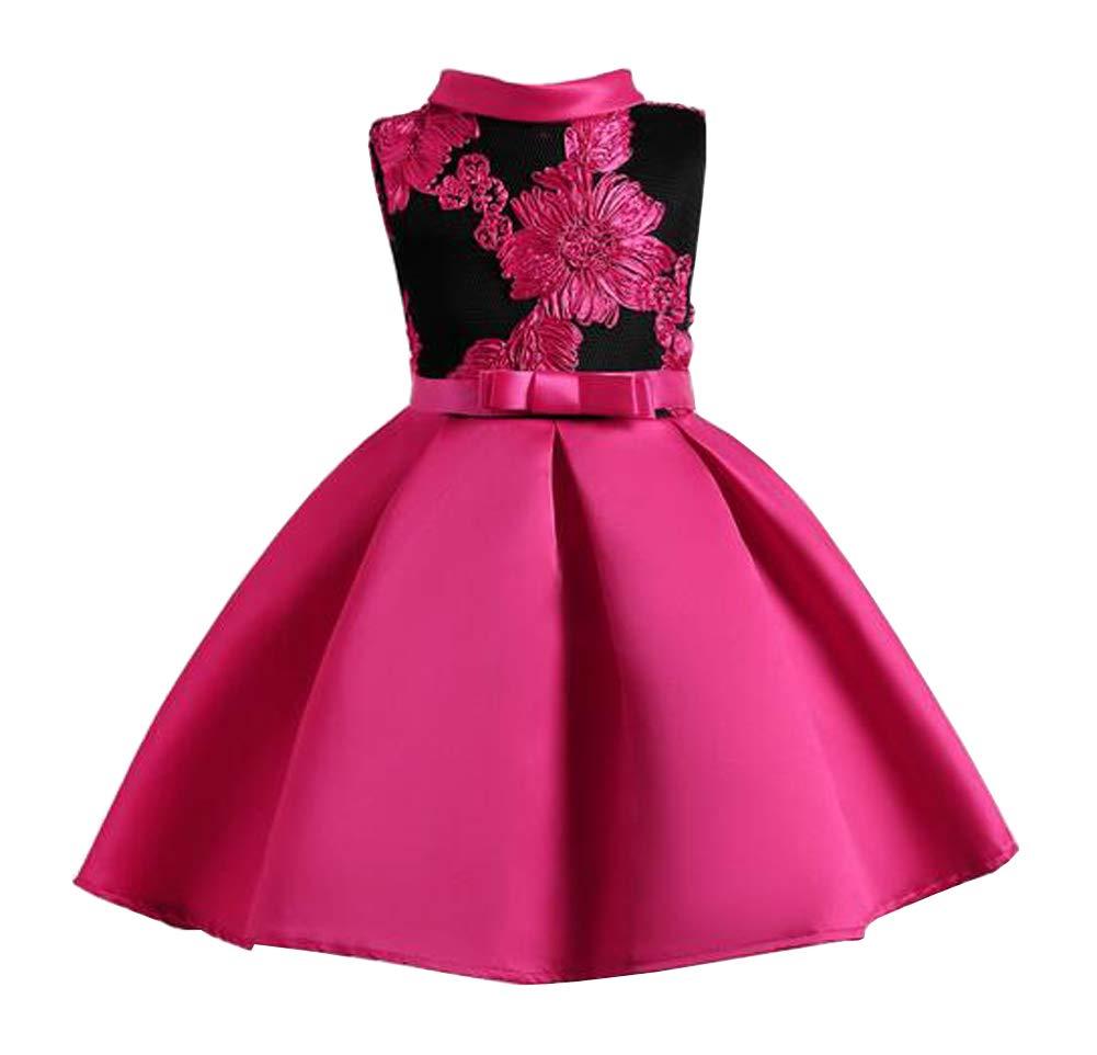 Tueenhuge Little Girls Sleeveless Flower Ruffles Lace Party Wedding Bridesmaid Dress