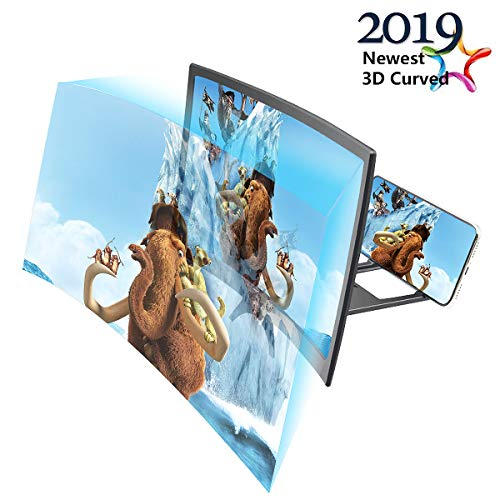 Curve Screen Magnifier 12'', 3D HD Screen Enlarger Video Movie Amplifier Holder Stand for iPhone Xs/XR/X/8/8 Plus/7/7 Plus/6S, Galaxy S9+/S9/S8/S7, All Smart Phones【2019 Upgraded】