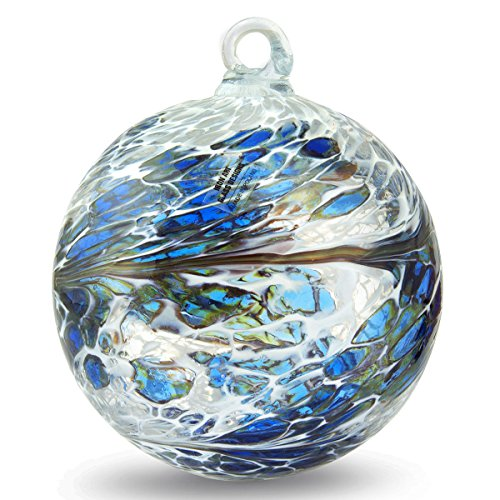 Friendship Ball Iris Blue 4 Inch Kugel Iridized Witch Ball by Iron Art Glass Designs
