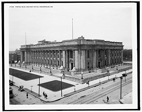 Post Bldg (16 x 20 Gallery Wrapped Frame Art Canvas Print of Federal Bldg and post office Indianapolis Ind 1900 Detriot Publishing co. 80a)