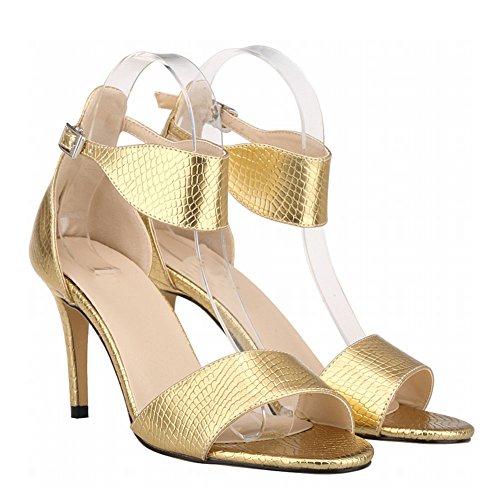 Zhuhaixmy New Frau Damen High Heels Peep Toe Gürtel Schnalle Krokodil Muster Sandalen Schuhe Gold