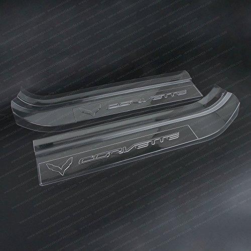 Corvette Clear Door Sill Protectors : C7 Stingray, Z51, Z06 (Clear w/Embossed Corvette - Corvette Z51