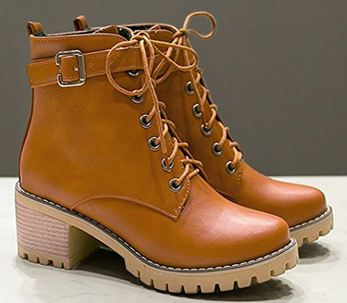 Lace Aisun Martens Yellow Women's Buckled Mid Chunky Up Trendy Short Heels Boots SSEgRp