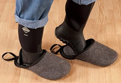 Overshoes: Made in USA- Indoor Overshoes by Big Foot Of Maine slip over your boots and shoes and keep your floors clean the easy way. These Shoe and Boot Slippers are Large and recommended for use over Mens size 10-12 shoes and woman's size 10 and up. Other sizes are available upon request or seeing our other (Bigfoot Products)