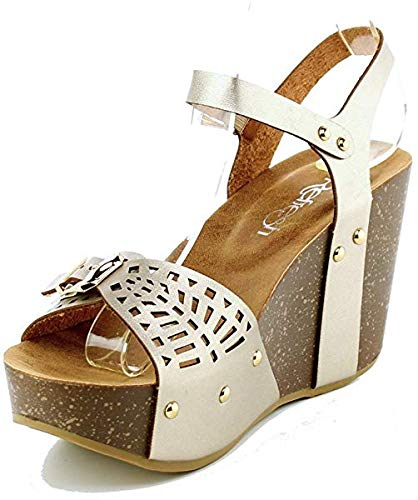TheRightPair Women's Open Toe Ankle Strap Comfort Thick Cork Board Buckle Platform Summer Wedge Sandal Shoes Champagne 9