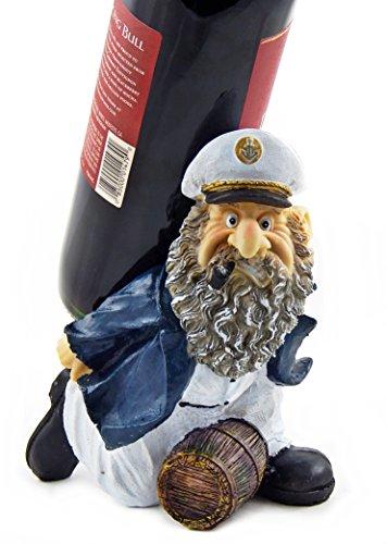 Captain Wine Bottle Holder (Captain Barrels Wine Bottle Holder Statue Nautical Kitchen Bar Decor Wine Stands & Racks Sculpture Gifts)