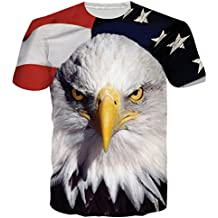 RAISEVERN Unisex 3D Graphic Printed Eagle Casual Short Sleeve T Shirts Tees