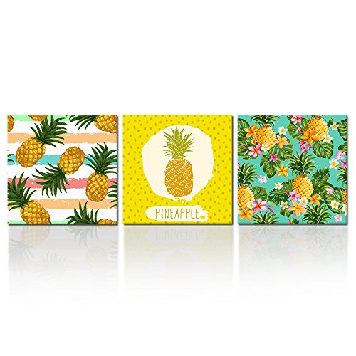 Print Gift Home Decor - Kreative Arts - 3 Pieces Hawaii Pineapple Tropical Fruit Wall Art Decor Abstract Art Home Canvas Prints Baby Gift Wall Hanging Decorations for Living Room Bedroom (16x16inchx3pcs)