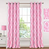 "Elrene Home Fashions 026865901313 Juvenile Teen or Tween Blackout Room Darkening Grommet Window Curtain Drape Panel, 52"" x 63"", Light Pink"