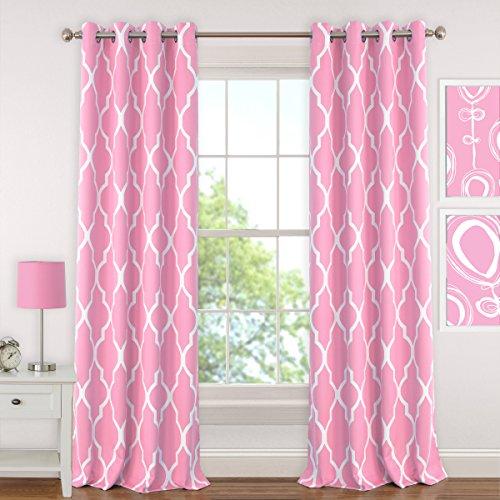 "Elrene Home Fashions 026865901313 Juvenile Teen or Tween Blackout Room Darkening Grommet Window Curtain Drape Panel, 52"" x 63"", Light Pink"
