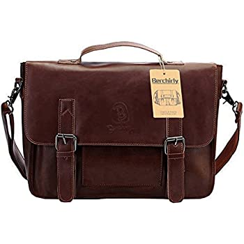 Amazon.com: NiceEbag Leather Messenger Bag Vintage Canvas Laptop ...