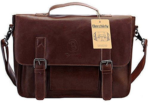 Vintage Leather Briefcase, Berchirly PU Faux Leather Shoulder Messenger Bag Laptop