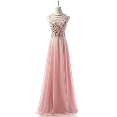 ASA Bridal Long Heavy Beaded Pink Prom Dresses Chiffon Evening Party Gown