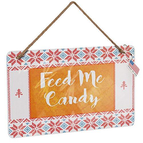 NEONBLOND Metal Sign Feed Me Candy Halloween Orange Wallpaper Vintage Christmas -