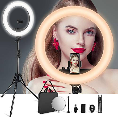 VicTsing LED Ring Light with Color Adjustment Knobs, 18'' Dimmable Ring Light 3200-5600K w/512pcs LED Chips (30% Brighter), Make-up Mirror, Carrying Bag..for Video Shooting, Potography. 2019 Upgraded