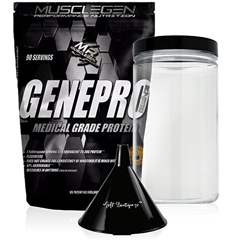 Medical Grade Protein GENEPRO- by Musclegen Research - Premium Protein for Absorption, Muscle Growth & Bariatric - Organic Gluten Free Flavorless No sugar Non GMO + Funnel + Clear Storage Container by Musclegen Research
