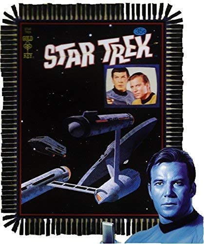Star Trek The Original Series Enterprise, Captain Kirk, and Spock No Sew Fleece Throw - Series Fleece Throw