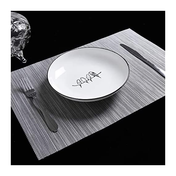 """Placemats Table Mats Gray Placemat Set of 8 Easy to Clean Non Slip Wipeable Place Mats Heat Resistant Farmhouse Modern Thanksgiving Christmas Table Mats for Dining Kitchen Table - Material:The table placemats are made of environmental PVC Material, these placemats for dining table are size in 18"""" x 12"""" (45cm x 30cm), pack of 8. The Features: The placemats set of 8 are non slip, heat insulation, easy to clean, just use wet towel or cloth to wipe off, also these gray placemats can be washed by soft brush. Protecting your table with these durable farmhouse placemats. The highest temperature of the placemats gray for heat insulation is 100 degree; Elegant Design: these kitchen placemats set of 8 are perfect addition to your dinner table,beautiful stylish and modern placemats to add more fun to your kitchen table,coffee time; - placemats, kitchen-dining-room-table-linens, kitchen-dining-room - 51lHWktaUTL. SS570  -"""