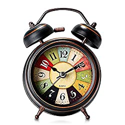Classic Retro Alarm Clock Bedside Non Ticking Silent Quartz Loud Twin Bell Alarm Clock Battery Operated, Vintage Warm Night Light Clock for Bedrooms Wake Up, Best Home Decororations Kids Adults Gifts.