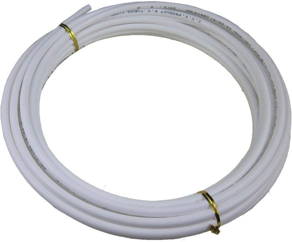 Food Grade 1/4 Inch OD Plastic Tubing for RO Water purifiers Filter, System, Aquariums, Refrigerators.(white,5meters)