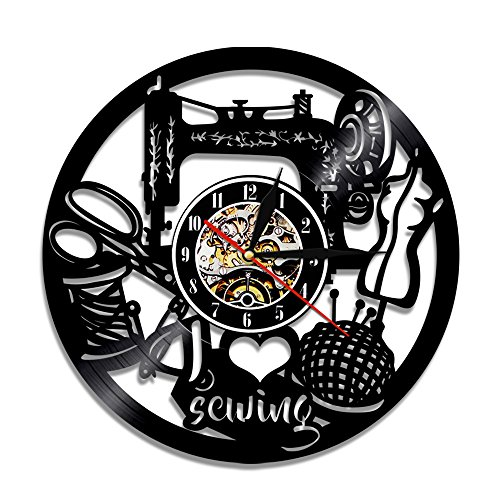 I Love Sewing Decorative Vinyl Record Wall Clock Gift to Your Mother, Friends and Family