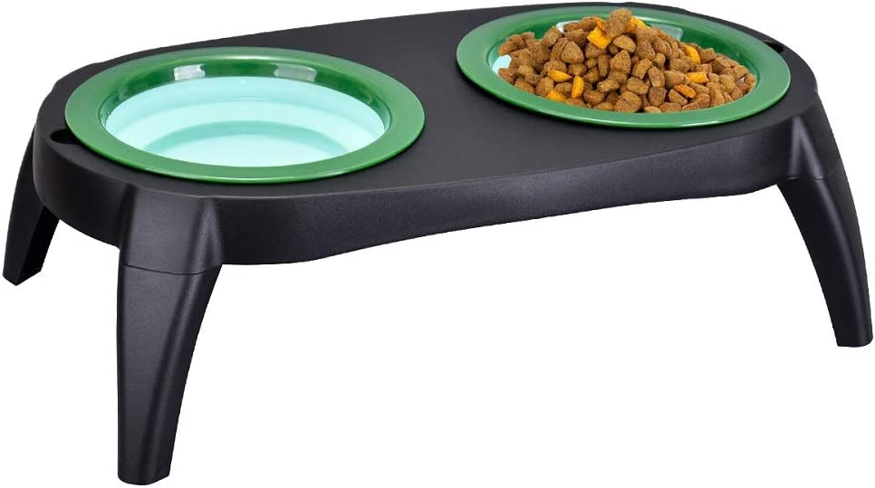 Koopao Cat Dog Food Bowls Elevated Dishes Stand, Travel Use Raised Pet Food Water Feeder Set with Foldable Silicone Frisbee Bowl and Detachable Leg for Small Medium Dogs Puppy, 24oz Dishwasher Safe GN