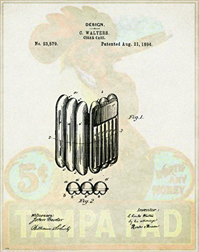 Cigar Patent Poster Art Print Wine Glasses Rack Cuban Humidor Cutter Box 11x14 Wall Decor Pictures