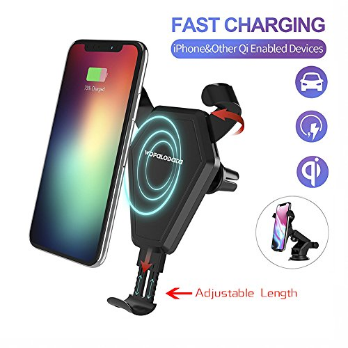 Fast Wireless Car Charger Stand for iPhone 8/8 Plus/X, Wofalodata 7.5W Quick Car Mount Air Vent Phone Holder Cradle for Samsung Galaxy S8/S8+/S7/S6 Edge LG, Sony and other QI Enabled Phones ()