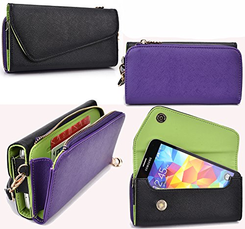 NuVur All in One Universal Wallet Clutch Smartphone Case Fits Apple iPhone 6, 6s, 7, 8|Purple/Black