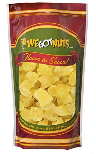 We Got Nuts Dried Pineapple Chunks | Freshly Packed Pineapple In A Perfectly Sealed Bag | Healthy Snack Full Of Vitamins, Minerals, Antioxidants, Fibers & Enzymes | Kosher Certified Dried Fruit (2lb) Candy Chocolate Dried Fruit