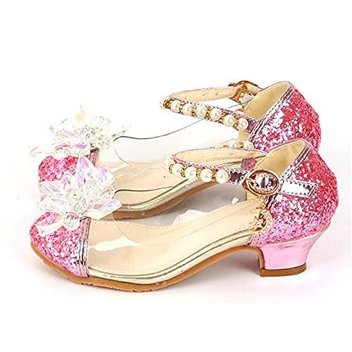 81765884 YOGLY Zapatos para Niñas Princesa Zapatos Tacones Altos Baile Zapatos de  Diamantes de Imitación de Niña