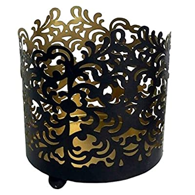 "Hosley's 4.5"" High Metal Black/glold Finish, Geometric Pattern, Jar Holder, Candle Sleeve. Tea Light Lantern. Ideal Gift for Spa, Aromatherapy, Weddings. Use with Tealights, Votive. Bulk Buy"