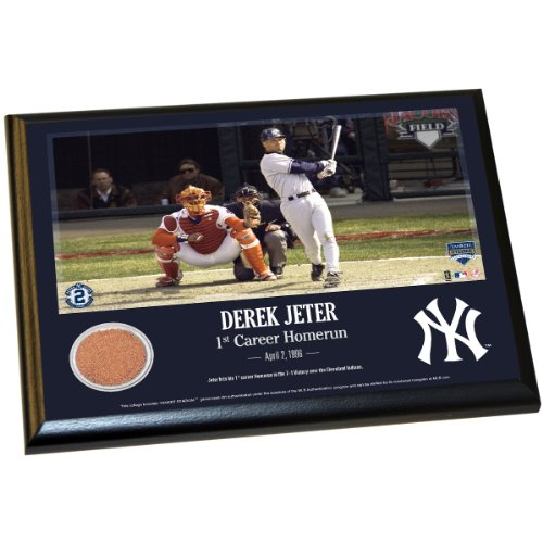 DEREK JETER MOMENTS:'1ST CAREER HOME RUN' 8 Inch X 10 Inch MLB AUTHENTIC YANKEE STADIUM GAME USED DIRT PLAQUE(MLB - Memorabilia Mlb